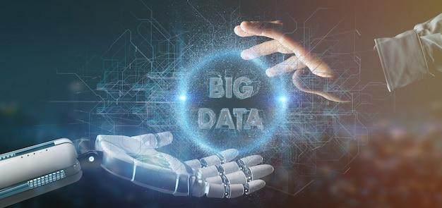 Mão de ciborgue segurando uma renderização 3d de título de dados grande