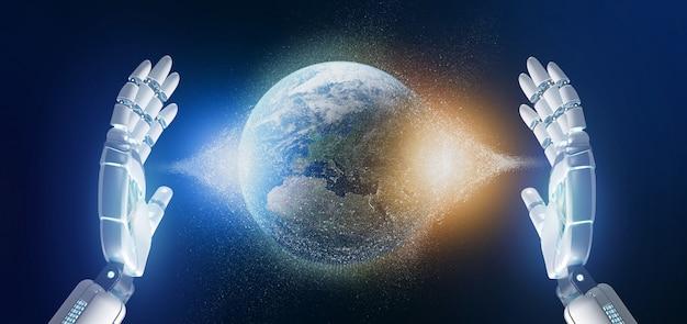 Mão de ciborgue segurando uma terra globle partículas