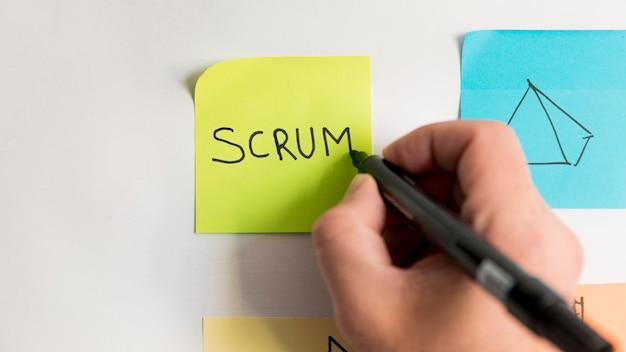 Mão de close-up, escrevendo o plano de negócios