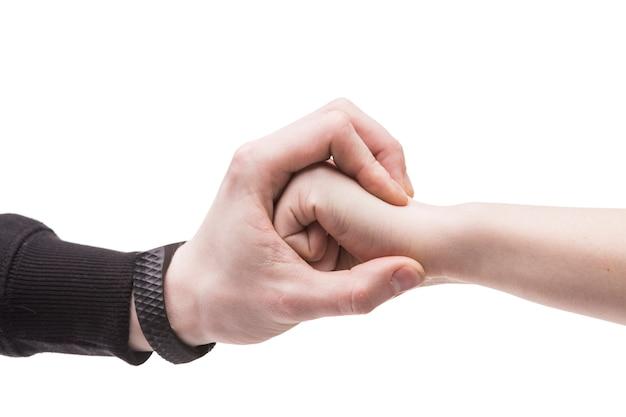 Mão de close-up, parando o punho