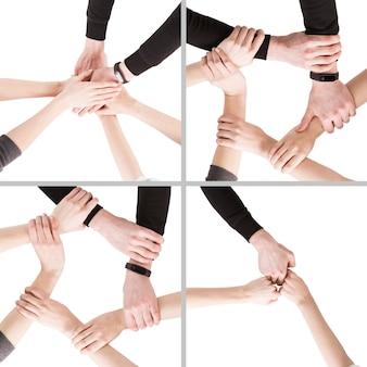Mão de colheita mostrando gestos de equipe