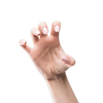 Mão de colheita mostrando o gesto assustador