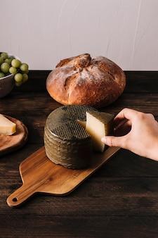 Mão de colheita tomando queijo da placa de corte