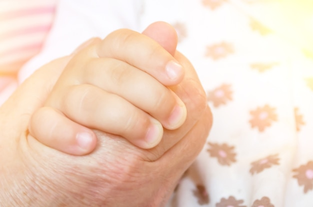 Mão de criança de um aperto de mão de criança da mão de um homem adulto. conceito de relação entre avó e netos.