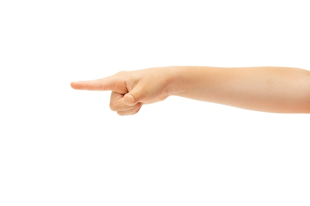 Mão de criança gesticulando em branco