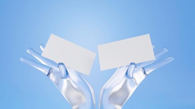 Mão de cristal de renderização 3d segurando o cartão de visita maquete.