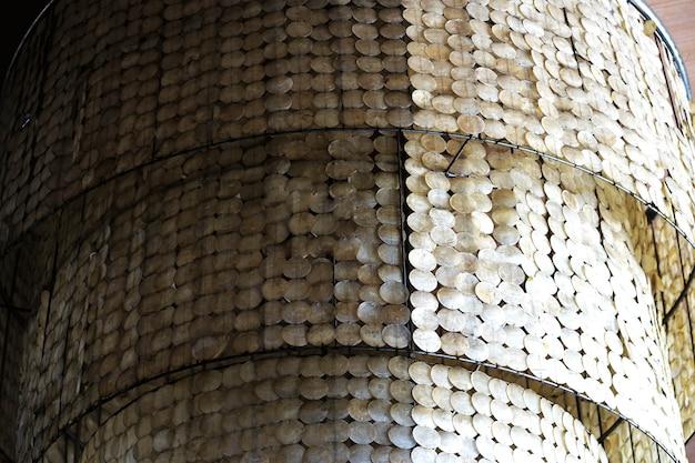 Mão de decoração grande shell feita pendurado a luz da lâmpada