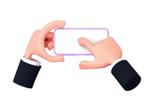 Mão de desenho animado 3d com uma manga mostra o telefone, a outra mão pressiona o centro da tela