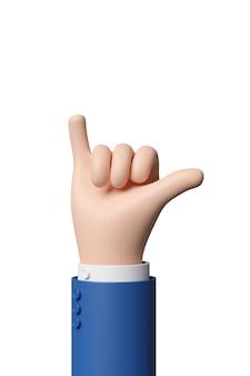 Mão de desenho animado fazendo gesto de shaka isolado no fundo branco.