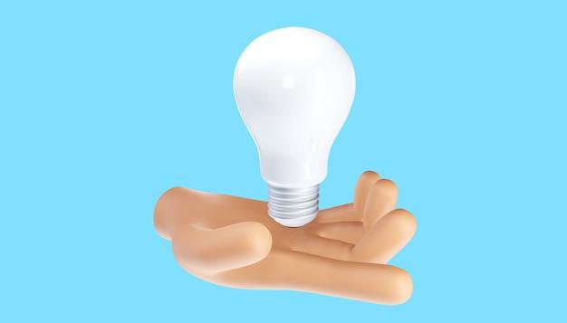 Mão de desenho animado segurando a lâmpada. pensamento, boa ideia e conceito criativo de sucesso empresarial. ilustração 3d