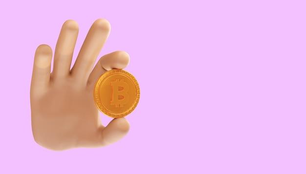 Mão de desenho animado segurando bitcoin 3d em um fundo isolado. ilustração 3d. negociação de bitcoin