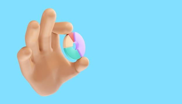Mão de desenho animado segurando o gráfico donut em um fundo isolado. ilustração 3d