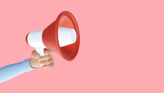 Mão de desenho animado segurando o megafone. símbolo de publicidade e promoção. ilustração 3d