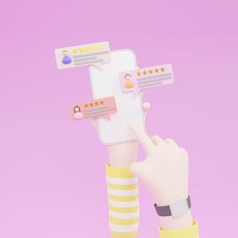 Mão de desenho animado segurando o telefone com avaliação de avaliação. avaliações de estrelas com taxas e textos bons e ruins. ilustração 3d