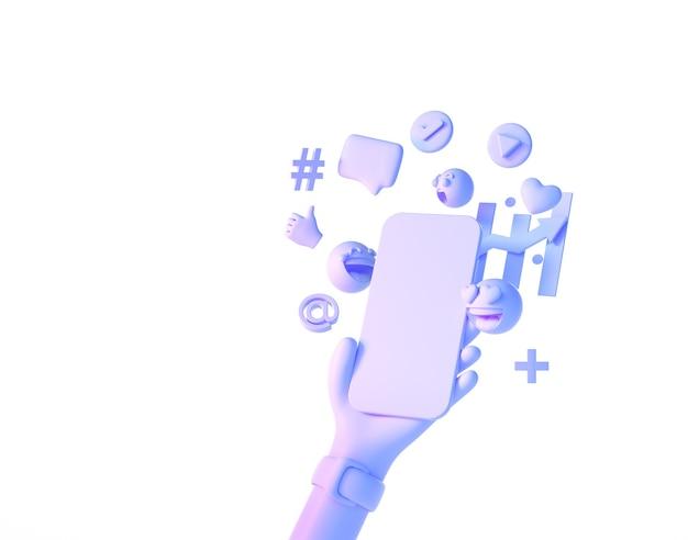 Mão de desenho animado segurando smartphone com mídia social