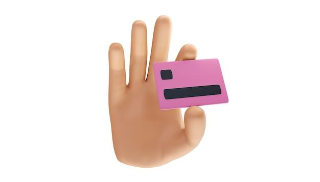 Mão de desenho animado segurando um cartão de crédito em um fundo isolado. ilustração 3d.