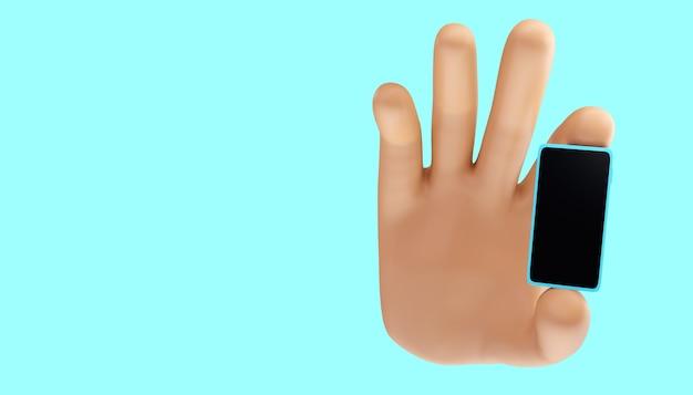 Mão de desenho animado segurando um telefone móvel em um fundo isolado. ilustração 3d