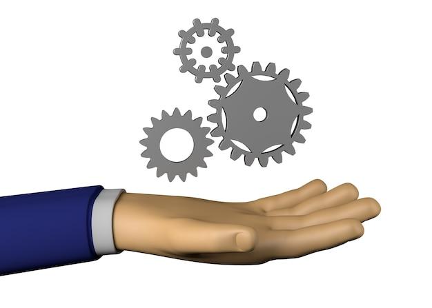 Mão de empresário com rodas de engrenagem. ilustração 3d.