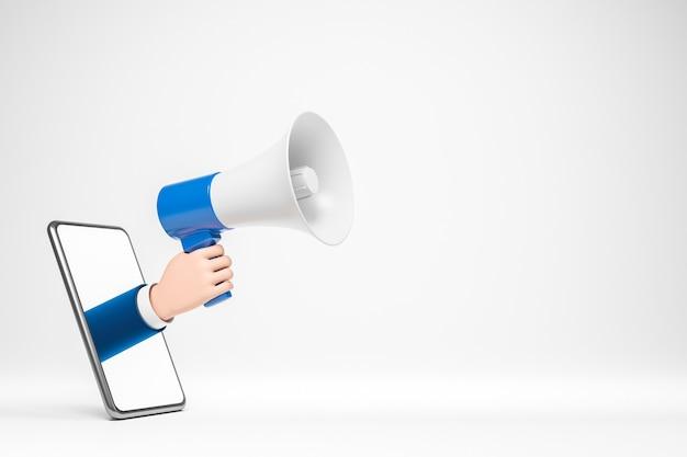 Mão de empresário de desenho animado segurando o alto-falante pela tela do smartphone publicidade on-line na internet
