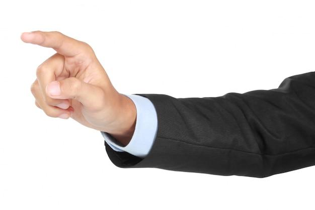 Mão de empresário empurrando a tela virtual