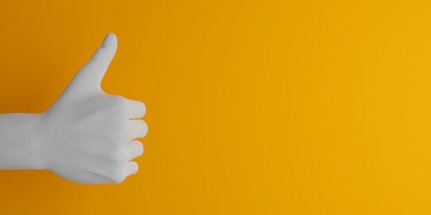 Mão de gesso branco fazendo um gesto de