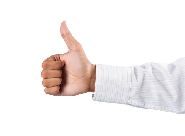 Mão de homem adulto polegar para cima no fundo branco