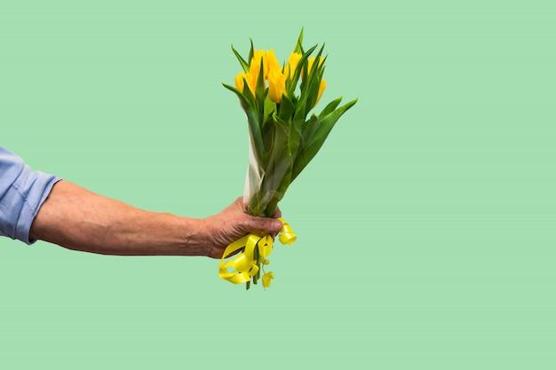 Mão de homem com buquê de tulipas amarelas sobre fundo verde. primavera. mulher e mãe dia conceito.