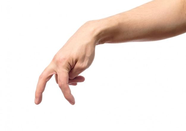 Mão de homem com dedos simulando alguém andando ou correndo