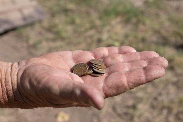 Mão de homem com fichas de pagamento na colheita da uva