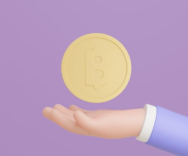 Mão de homem de negócios 3d com moedas de ouro sobre fundo roxo. renderização de ilustração 3d.