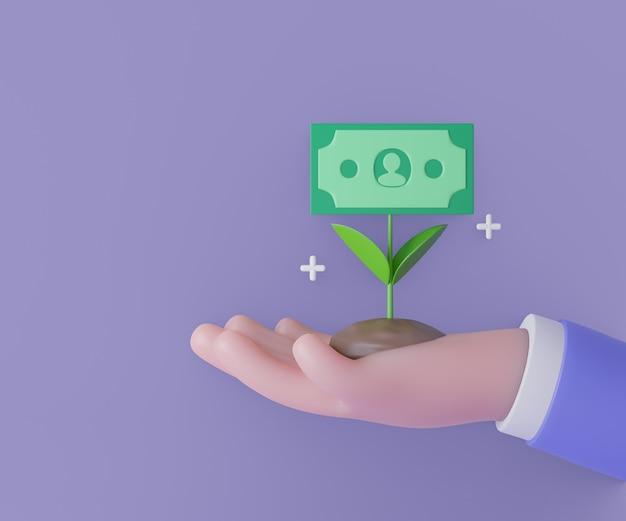 Mão de homem de negócios 3d segurando a planta de dinheiro com flor de notas em fundo roxo. economia de dinheiro, pagamento online e conceito de pagamento. renderização de ilustração 3d.