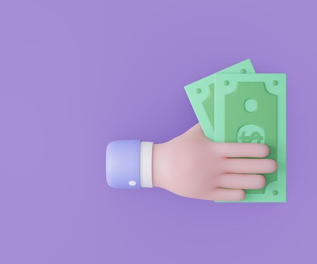 Mão de homem de negócios dos desenhos animados segurando notas de dinheiro. ilustração 3d render