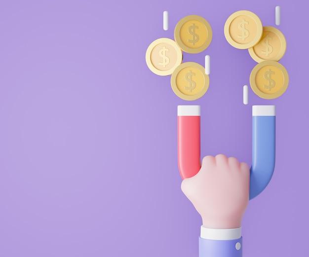 Mão de homem de negócios dos desenhos animados segurando o ímã com moedas de ouro. ilustração 3d render