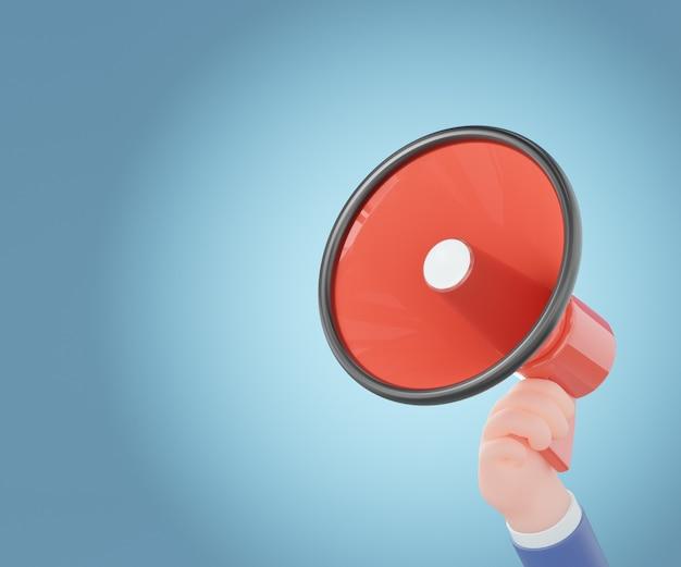 Mão de homem de negócios dos desenhos animados segurando o megafone vermelho sobre fundo azul. ilustração 3d render