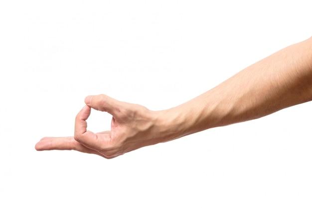 Mão de homem em sinal ok isolado