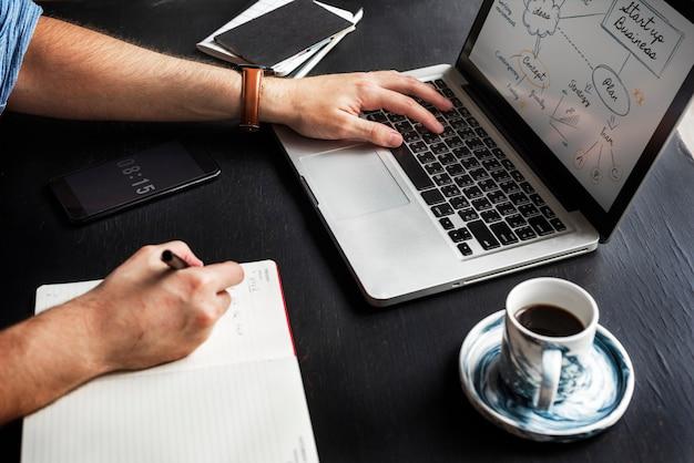 Mão de homem, escrevendo a nota de negócios de inicialização do laptop