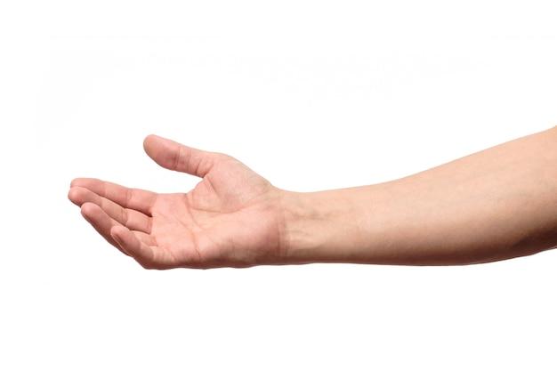 Mão de homem isolada. segure, agarre ou pegue