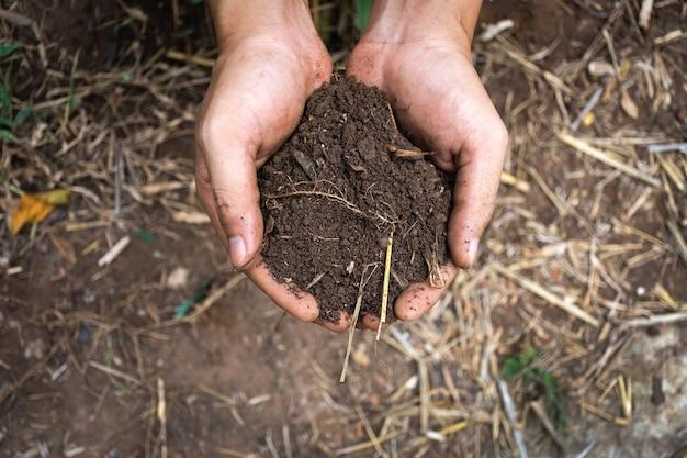 Mão de homem segurando abundância de solo para o plantio.