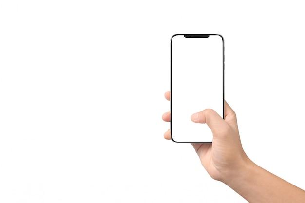 Mão de homem segurando o dispositivo smartphone e tela tocante