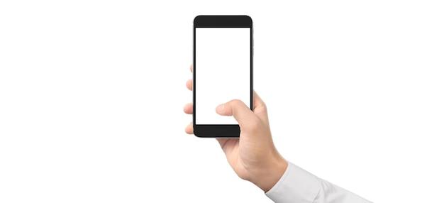 Mão de homem segurando o dispositivo smartphone e tocando a ideia de tela.