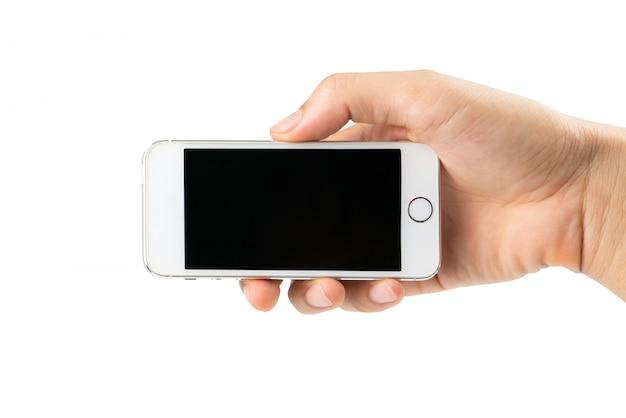 Mão de homem segurando smartphone isolado