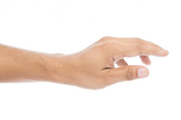 Mão de homem vazio isolado no fundo branco
