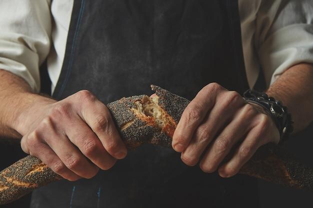 Mão de homens quebrando e separando uma baguete recém-assada com sementes de papoula. conceito de pão.