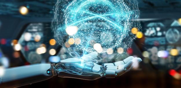 Mão de humanóide branco usando renderização digital de rede global 3d