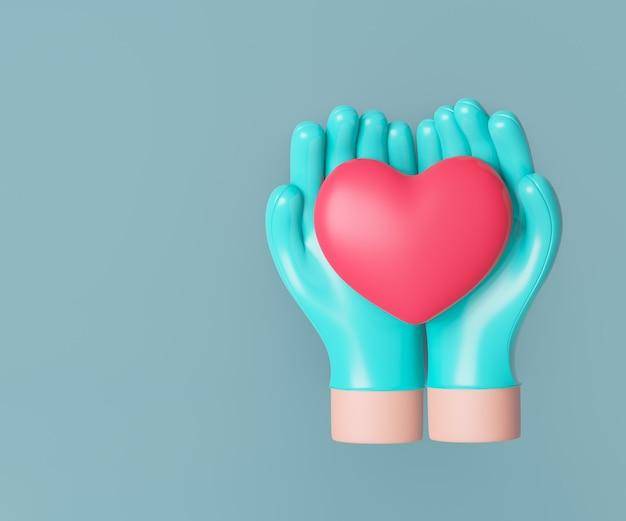 Mão de médico de dois desenhos animados 3d com coração vermelho em fundo limpo. renderização de ilustração 3d.