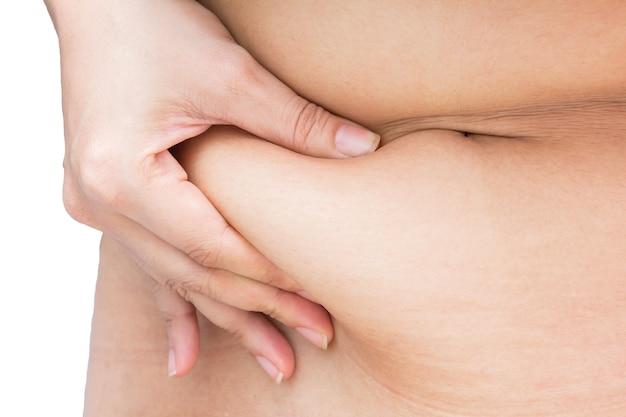 Mão de mulher com excesso de peso, segurando ou beliscar barriga de barriga de gordura corporal