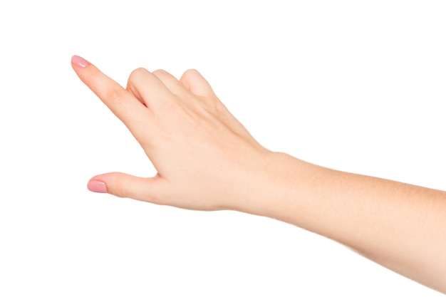 Mão de mulher fazendo geastures, isolado no branco