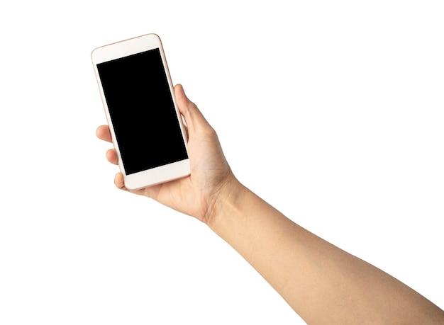 Mão de mulher senhora segurando o telefone móvel.