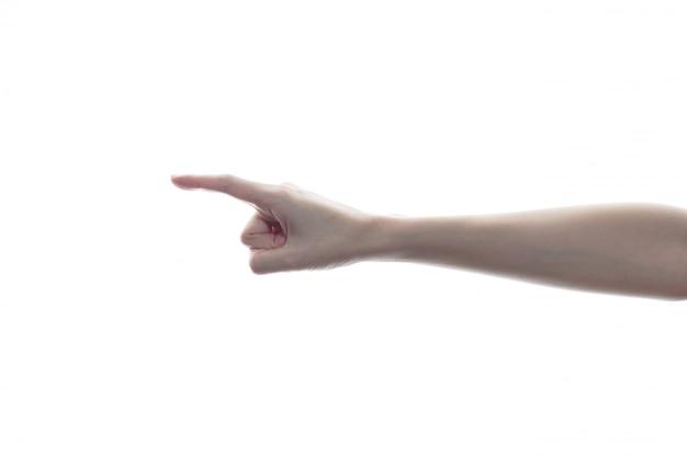 Mão de mulher tocando ou apontando para algo
