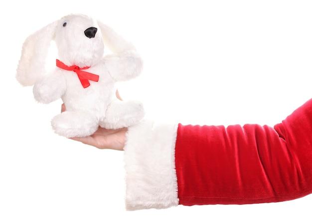 Mão de papai noel segurando um coelho de brinquedo isolado no branco